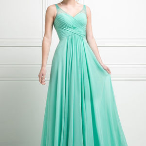 Mint A-Line Evening Long Dress